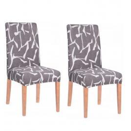 Set 2 huse scaun dining/bucatarie, din spandex, culoare gri