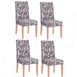 Set 4 huse scaun dining/bucatarie, din spandex, culoare gri