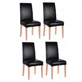 Set 4 huse scaun dining/bucatarie, imitatie piele si spandex, culoare negru