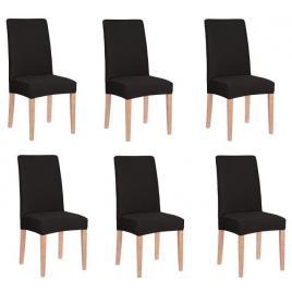 Set 6 huse pentru scaun dining/bucatarie, din spandex, culoare negru