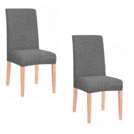 Set husa scaun dining/bucatarie, din spandex, model tapiterie in relief, culoare grafit, 2 buc/set