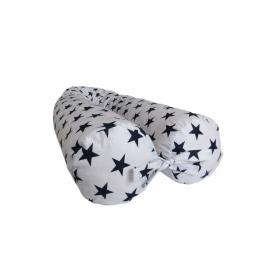 Perna gravide multifunctionala 100% bumbac alb cu stelute bleomarin 160 cm x 15 cm