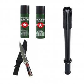 Pachet autoaparare Baston cu Electrosoc H-1118B, Cutit de vanatoare tip baioneta Rambo I si 2 Spray-uri Nato
