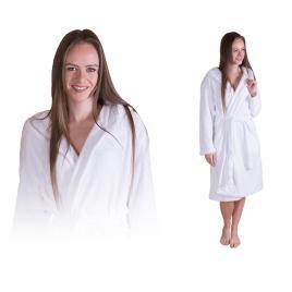 Halat dama de baie cu buzunare, gluga si maneca lunga, culoare alb, marime l-xl