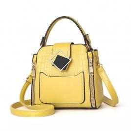 Geanta bonbon couture, galben, 20x18x12cm, casual