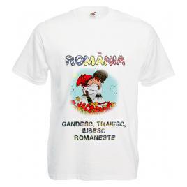 Tricou personalizat Romania gandesc traiesc iubesc romaneste alb S