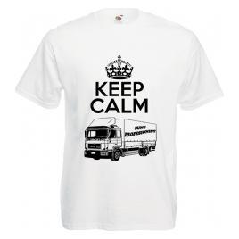 Tricou personalizat sofer profesionist keep calm alb L