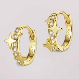 Cercei din Argint 925 steluțe placați cu Aur 18 k
