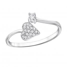Inel din Argint 925 cu pietricele zirconiu alb.placat cu rodiu.
