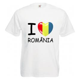 Tricou personalizat I love Romania tricolor alb XL