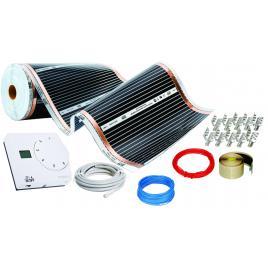 Kit incalzire pardoseala 10mp, cu folie carbonica 130W/mp + termostat analogic