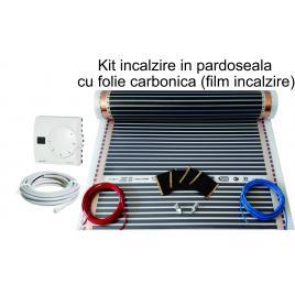 Kit incalzire pardoseala 7mp, cu folie carbonica 130W/mp + termostat analogic