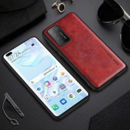 Husa telefon huawei p40 pro tpu din piele ecologica rosie