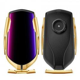 Suport auto pentru telefon cu incarcare wireless si smart sensor auriu