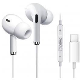 Casti cu fir Yesido Type-C In-Ear Microfon 1.2 m Albe