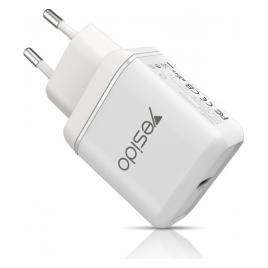 Incarcator retea Fast Charge PD Yesido Pure 18W Quick Charge Type-C White