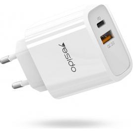 Incarcator retea Fast Charge Yesido Explore Type-C PD + USB QuickCharge 3.0 18W White