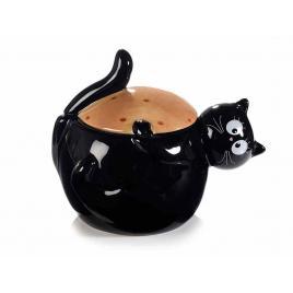 Borcan decorativ ceramica neagra crem model pisica 16x12x13 cm