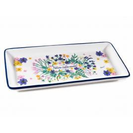 Platou din ceramica model floral 29x14 cm