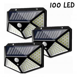 Set 3 x lampa 100 led cu panou solar senzor de miscare