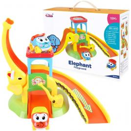 Parcare - elefant pentru copii cu doua masinute