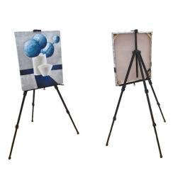 Sevalet suport din aluminiu pentru pictura cu 3 picioare, inaltime reglabila, culoare negru
