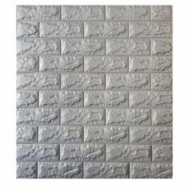 Panou de perete 3d caramida gri (70x77 cm) - autoadeziv