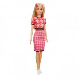Papusa barbie fashionista blonda cu tinuta casual roz