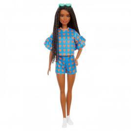 Papusa barbie fashionista satena cu codite impletite si tinuta casual albastra