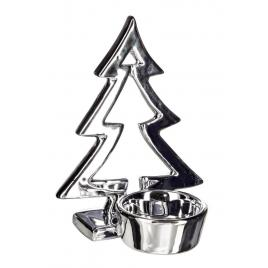 Candela din portelan argintiu model brad 10x8x13 cm