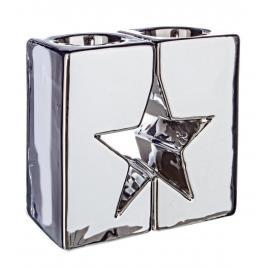 Candela din portelan argintiu model steluta 7x7x12 cm