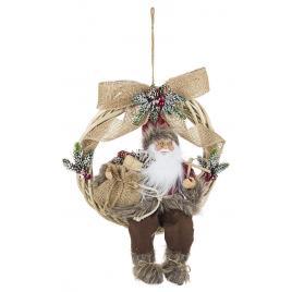 Coronita cu figurina mos craciun textil maro 30x13x36 cm