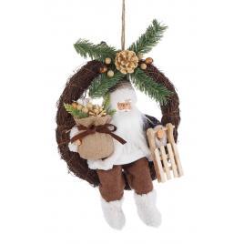 Coronita din lemn decorata cu figurina mos craciun maro alb 28x12x38 cm