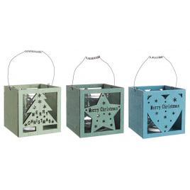 Set 3 suporturi lumanari din sticla si lemn 10x10x18 cm