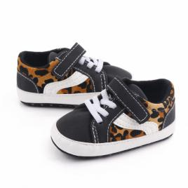 Tenisi negri cu insertie leopard (marime disponibila: 6-9 luni (marimea 19...