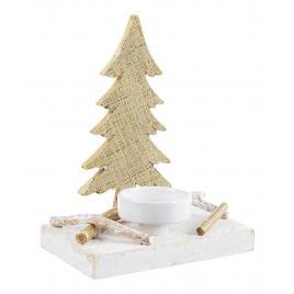 Candela din ceramica alba si lemn auriu 16x10x20 cm