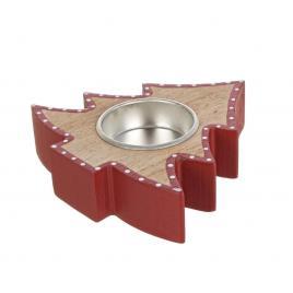 Candela din lemn natur rosu model brad 10x10x3 cm
