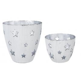 Set 2 candele lumanari din metal alb Ø10x10h, ø9x7h