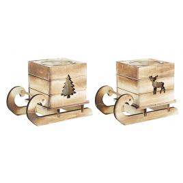 Set 2 suporturi lumanari din lemn natur si sticla model sanie 16x9x12 cm
