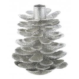Sfesnic lumanare din metal argintiu Ø 12x14 cm