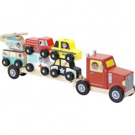 Jucarie camion din lemn cu vehicule de transport vilac