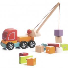 Jucarie din lemn cubika - macara magnetica