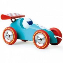 Masina de curse de tras din lemn - turcoaz