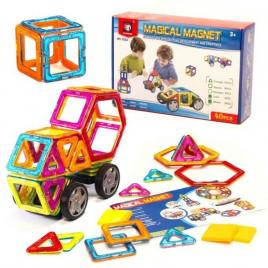 Set constructie magnetic 40 bucati magical magnet, include roti