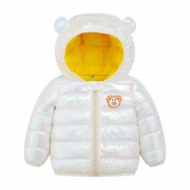 Geaca alb sidefat pentru fetite - ursulet (marime disponibila: 2 ani)