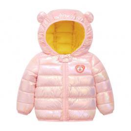 Geaca roz lucios pentru fetite - ursulet (marime disponibila: 3 ani)