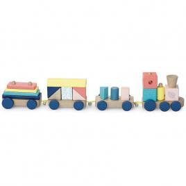 Tren cu cuburi din lemn vilac