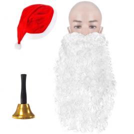 Caciula de mos craciun universala, 39 x 60 cm, rosu + barba lunga si clopotel auriu cadou