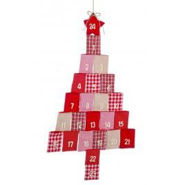 Calendar advent craciun din textil alb rosu 55x98 cm