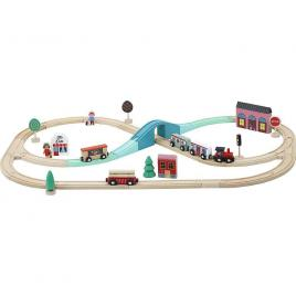 Circuit din lemn tren express 40 piese vilac